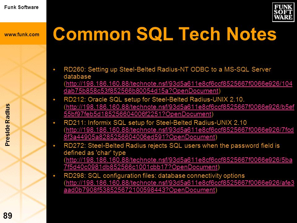 Common SQL Tech Notes