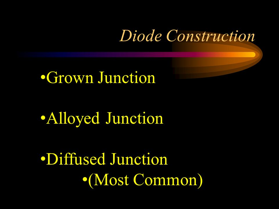 Diode Construction Grown Junction Alloyed Junction Diffused Junction (Most Common)