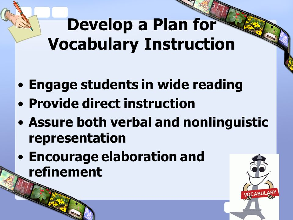 Develop a Plan for Vocabulary Instruction