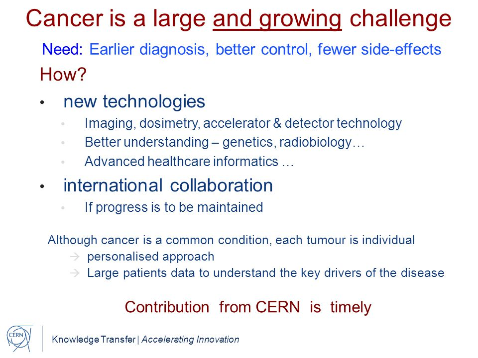 Contribution from CERN is timely