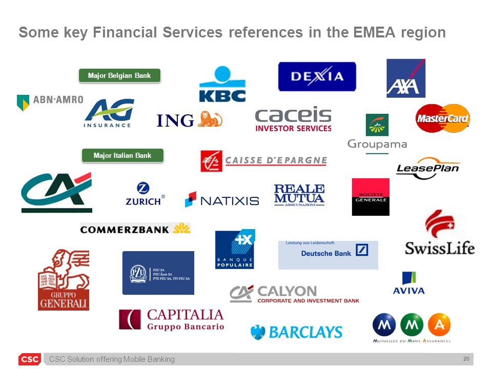 Some key Financial Services references in the EMEA region