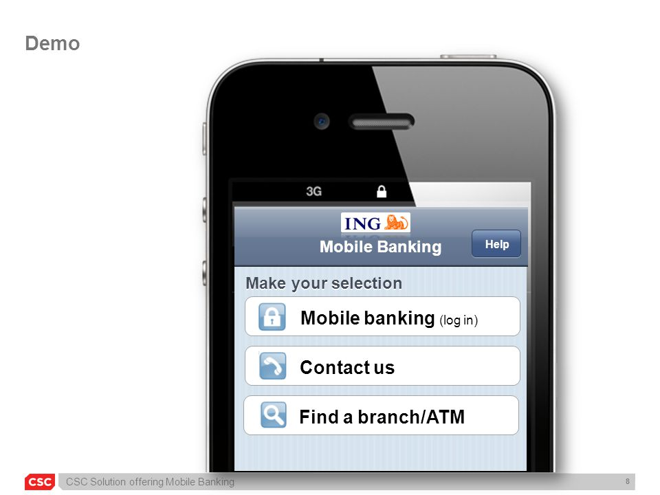 Demo Mobile banking (log in) Contact us Find a branch/ATM