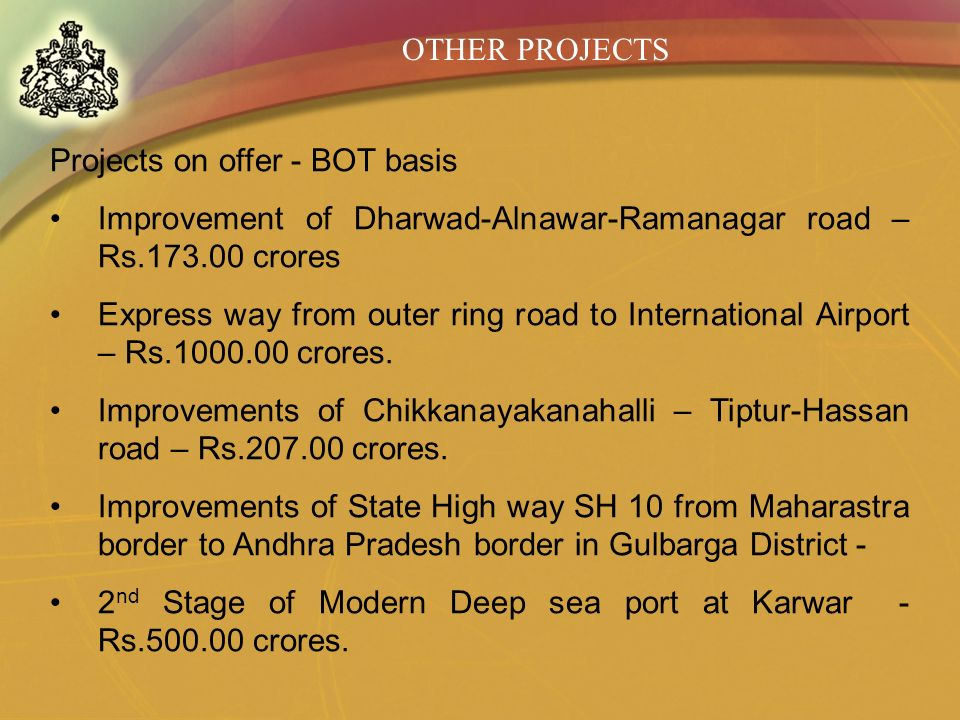 OTHER PROJECTS Projects on offer - BOT basis. Improvement of Dharwad-Alnawar-Ramanagar road – Rs.173.00 crores.