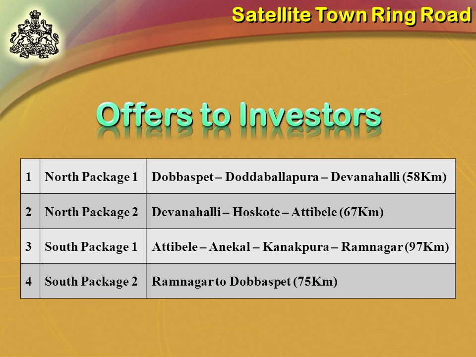 Offers to Investors Satellite Town Ring Road 1 North Package 1
