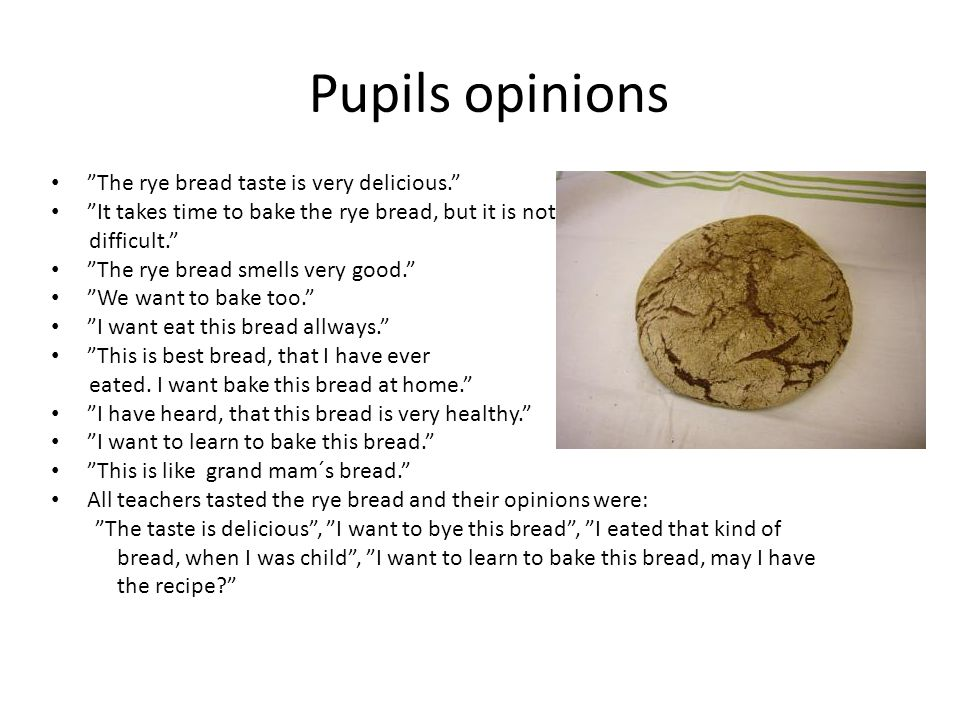Pupils opinions The rye bread taste is very delicious.