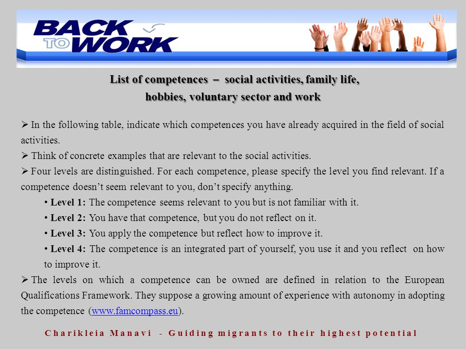 List of competences – social activities, family life,