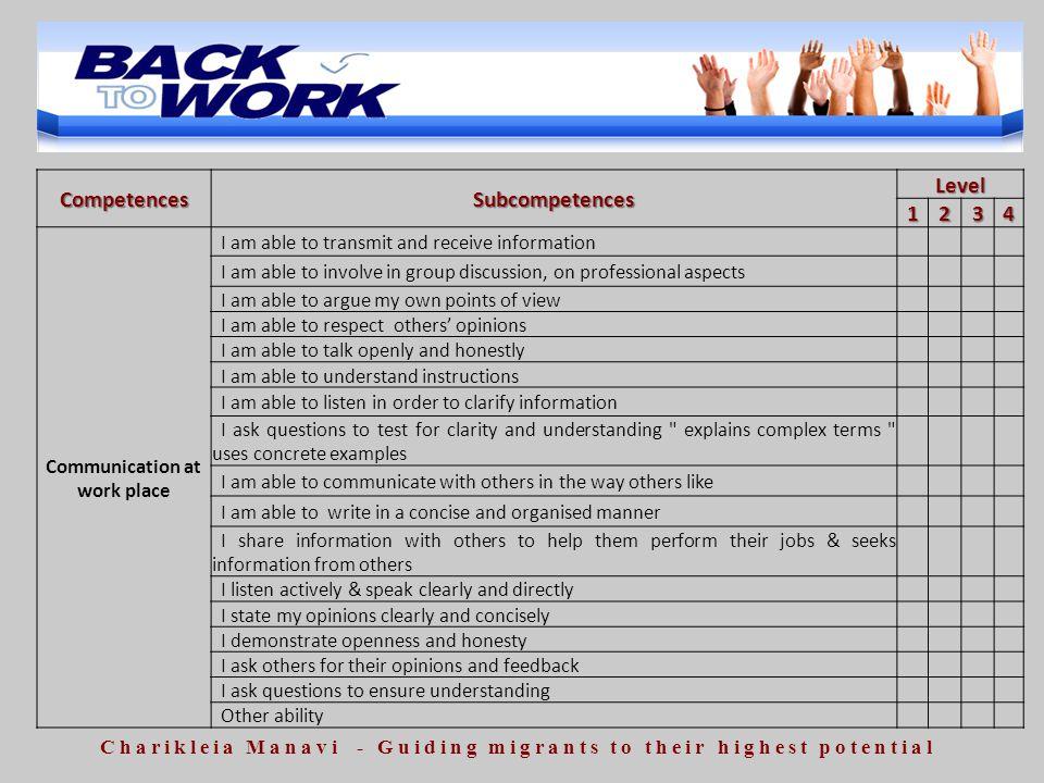 Competences Subcompetences Level 1 2 3 4
