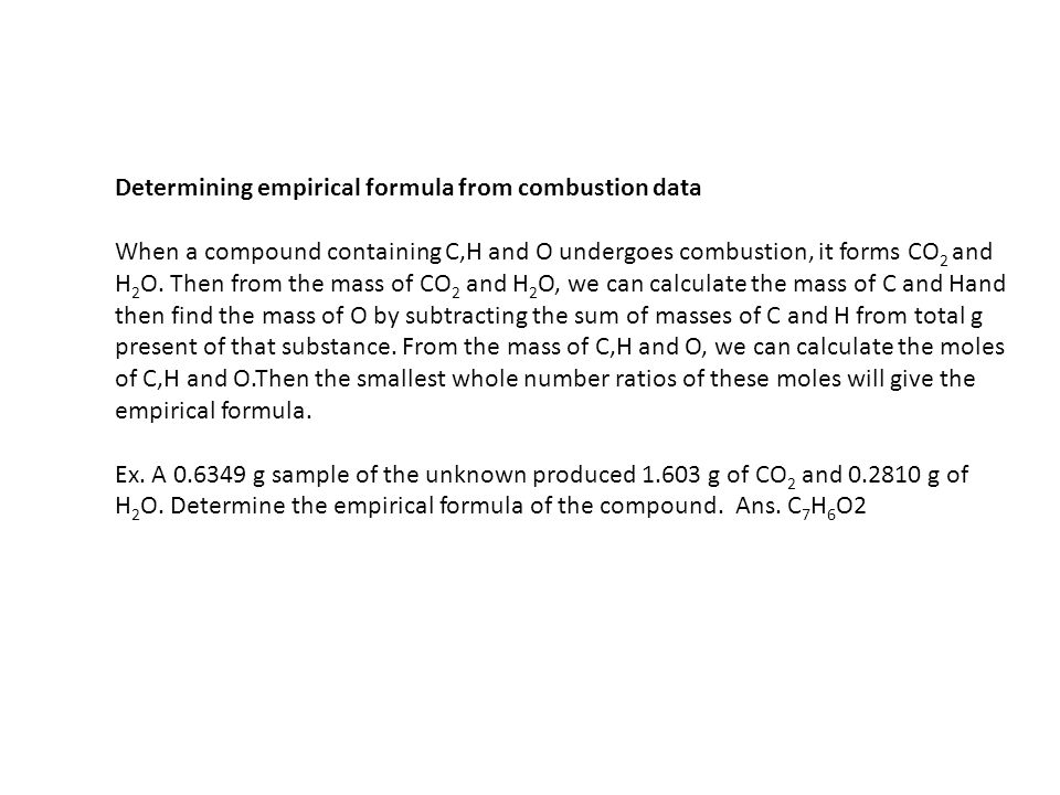 Determining empirical formula from combustion data
