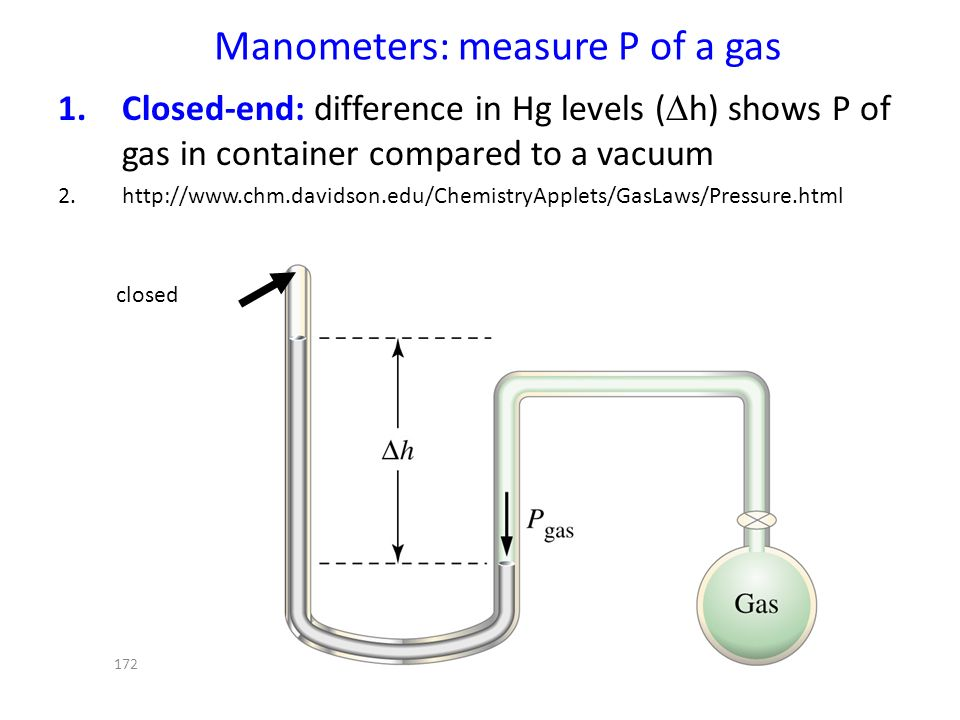 Manometers: measure P of a gas