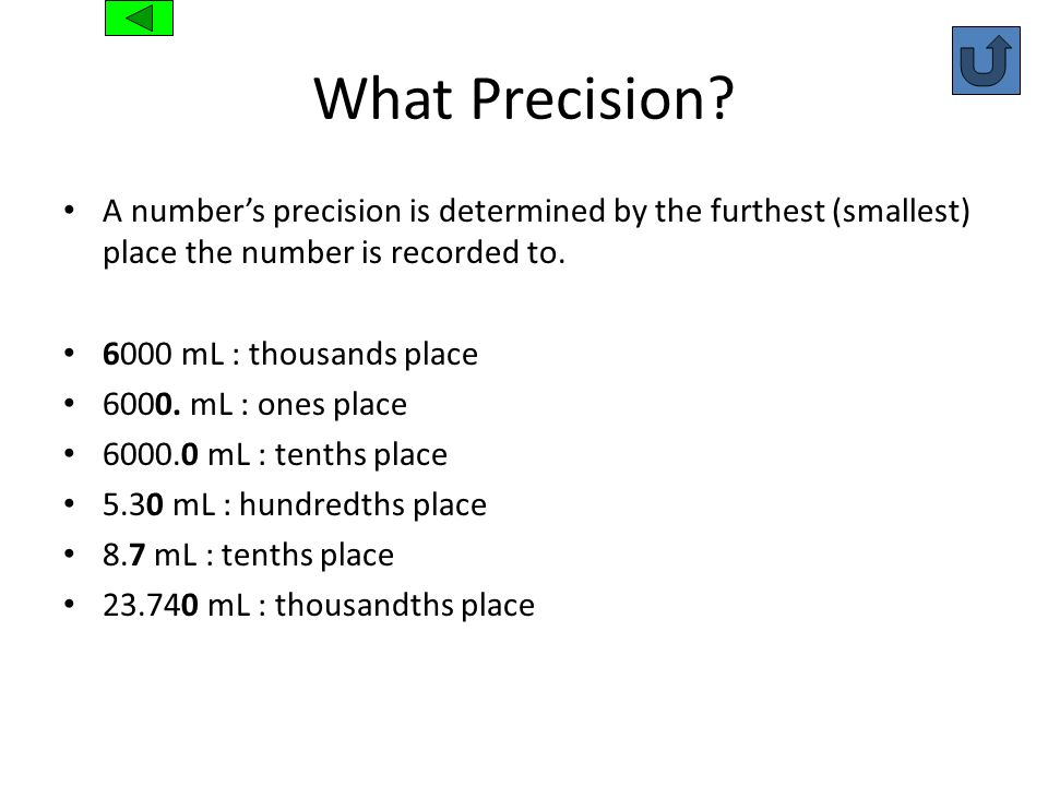 What Precision A number's precision is determined by the furthest (smallest) place the number is recorded to.