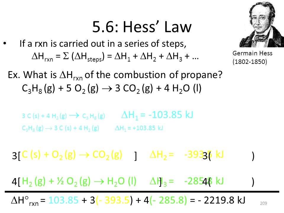 5.6: Hess' Law Ex. What is DHrxn of the combustion of propane