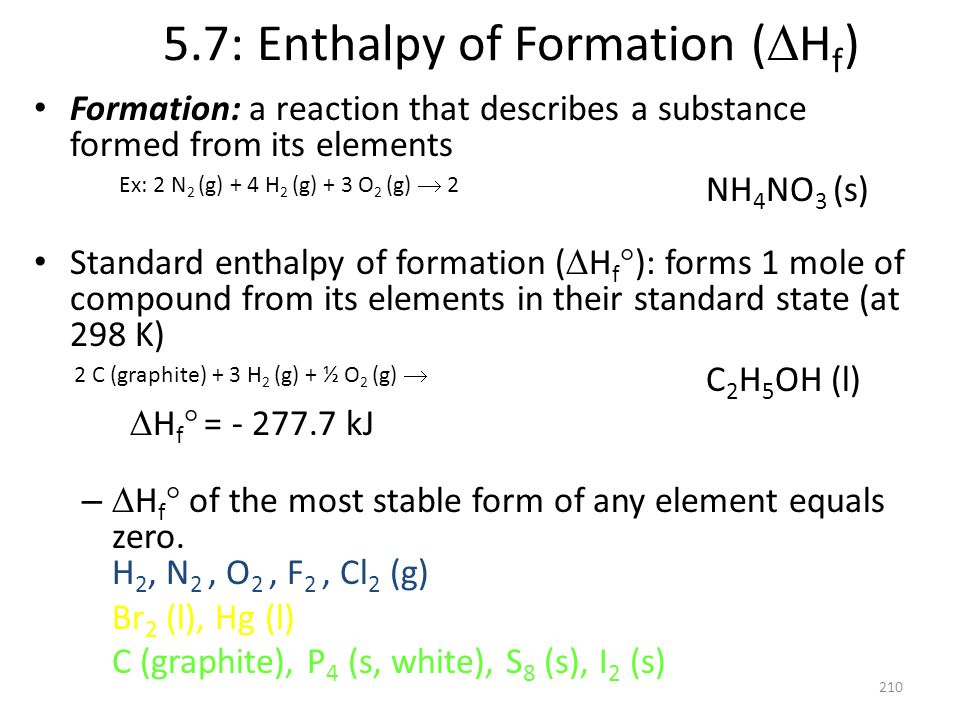 5.7: Enthalpy of Formation (Hf)