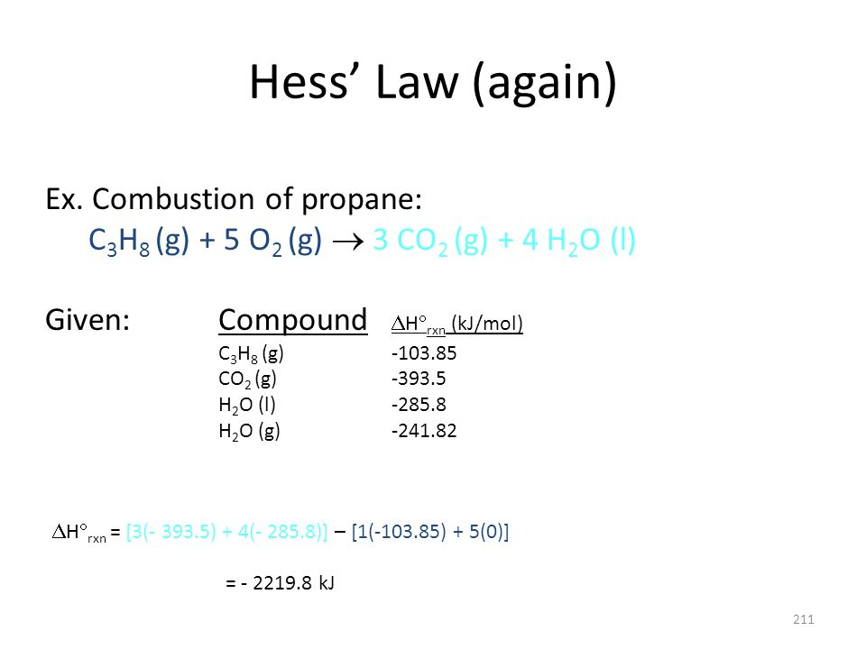 Hess' Law (again) Ex. Combustion of propane: