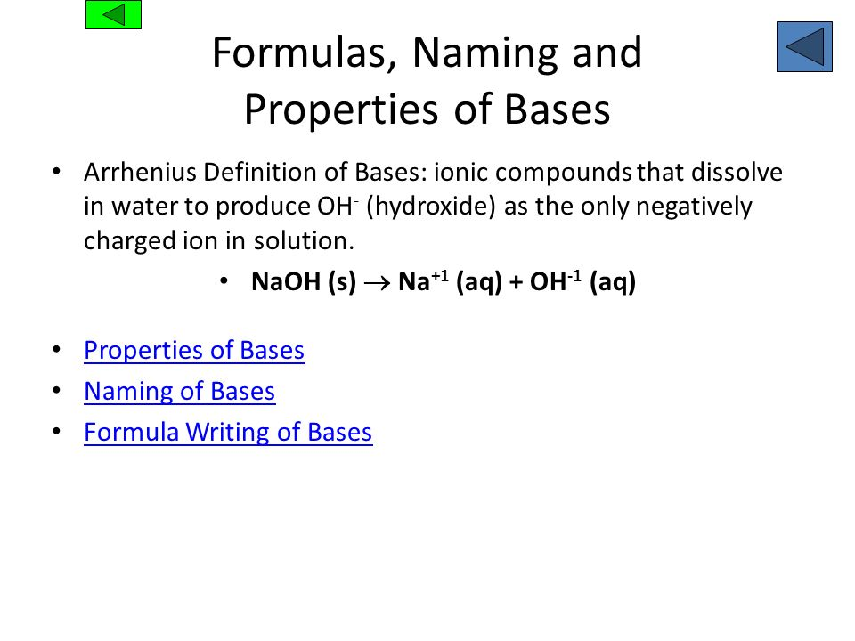 Formulas, Naming and Properties of Bases