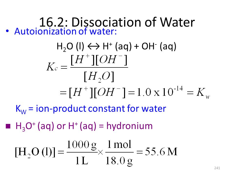 16.2: Dissociation of Water
