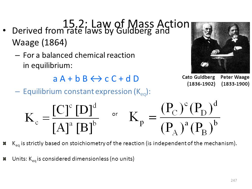 15.2: Law of Mass Action Derived from rate laws by Guldberg and Waage (1864) For a balanced chemical reaction in equilibrium: