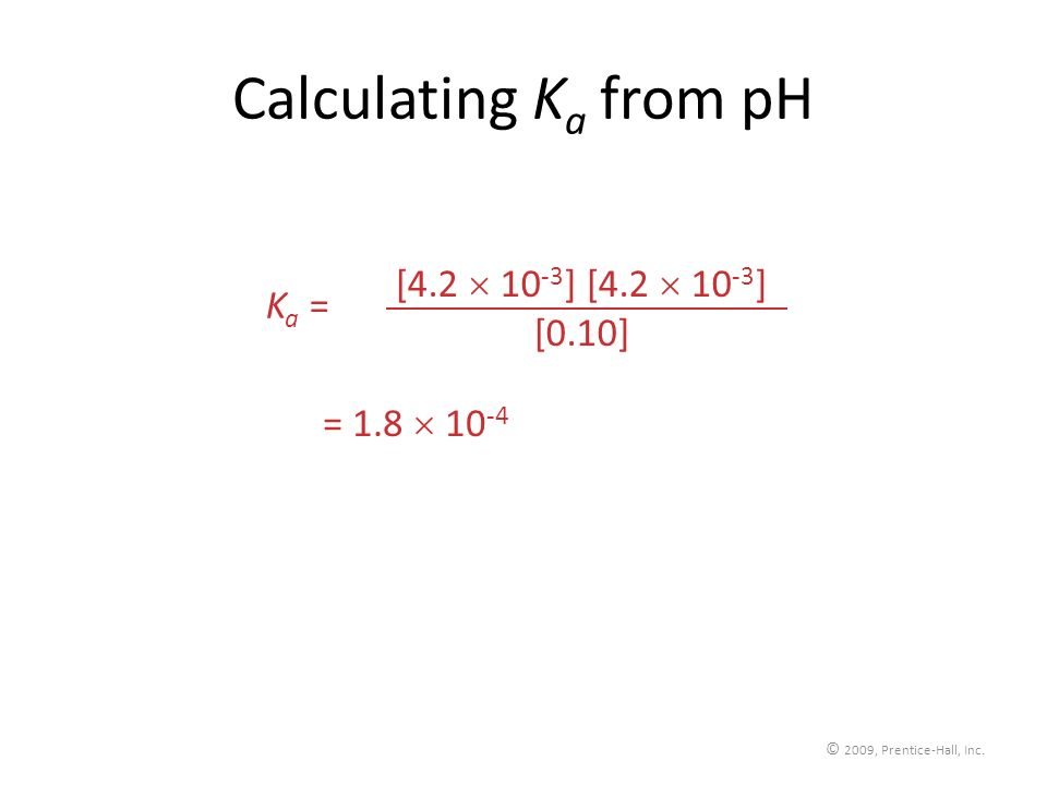 Calculating Ka from pH [4.2  10-3] [4.2  10-3] Ka = [0.10]