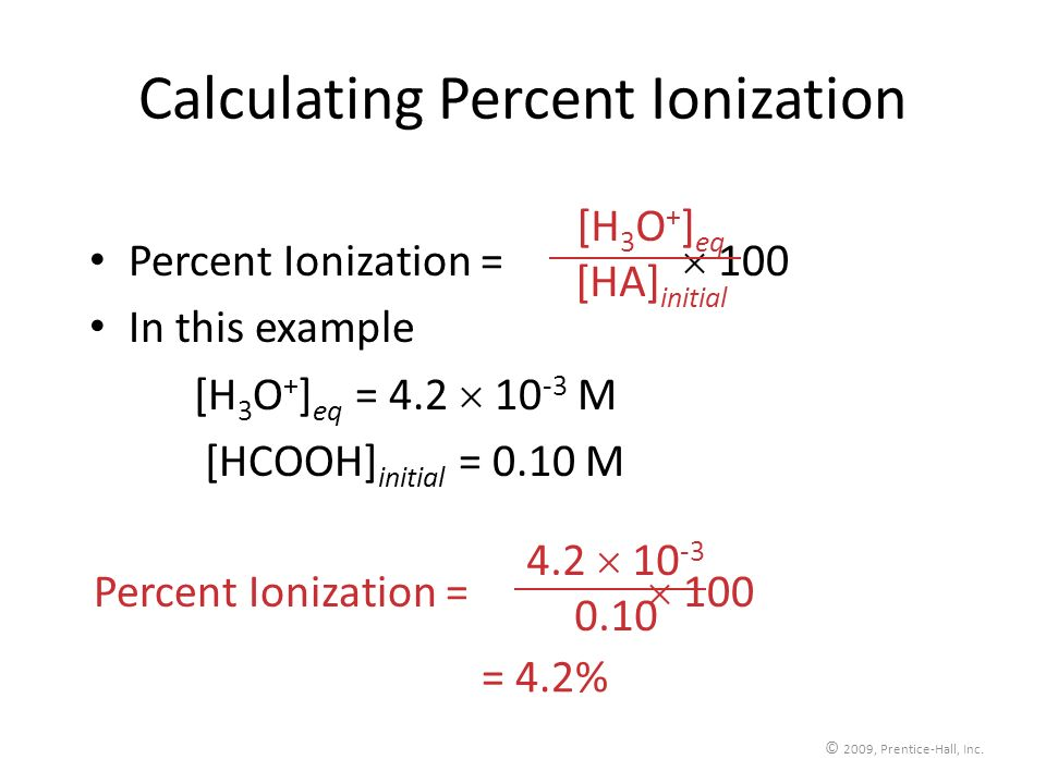 Calculating Percent Ionization