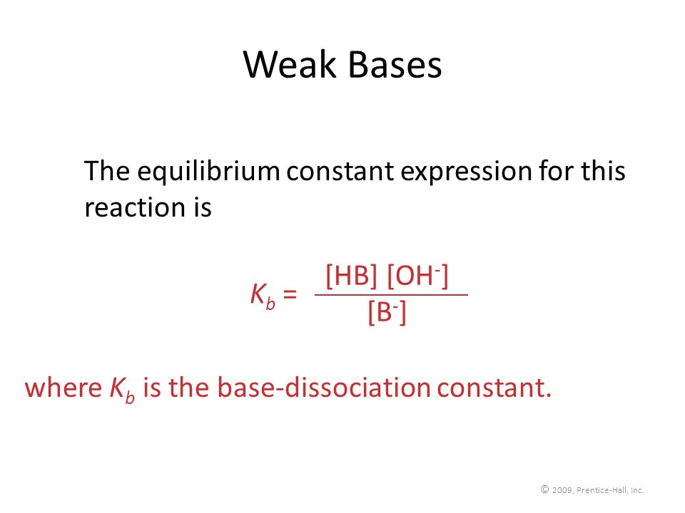 Weak Bases The equilibrium constant expression for this reaction is