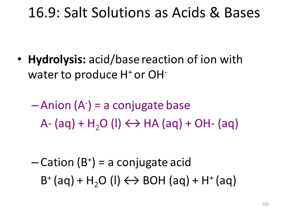 16.9: Salt Solutions as Acids & Bases