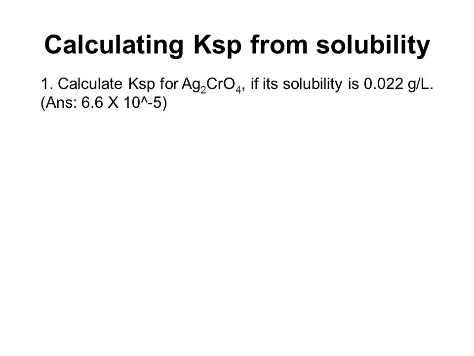 Calculating Ksp from solubility