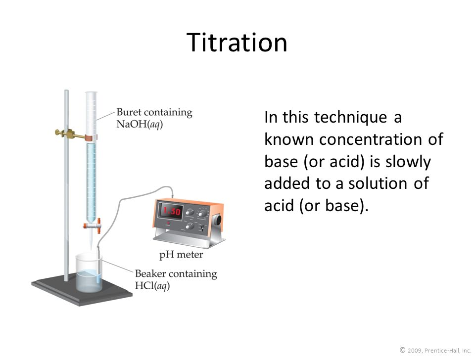 Titration In this technique a known concentration of base (or acid) is slowly added to a solution of acid (or base).