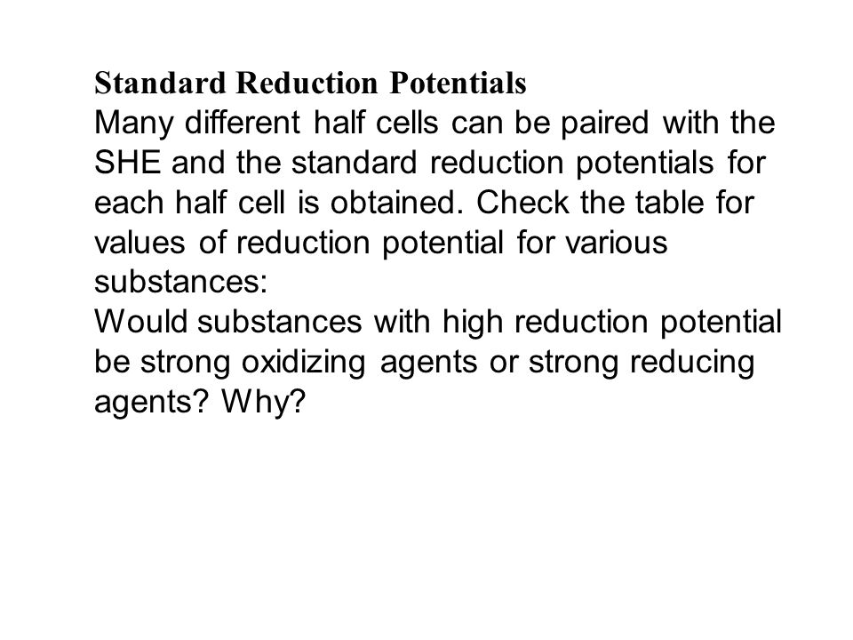 Standard Reduction Potentials