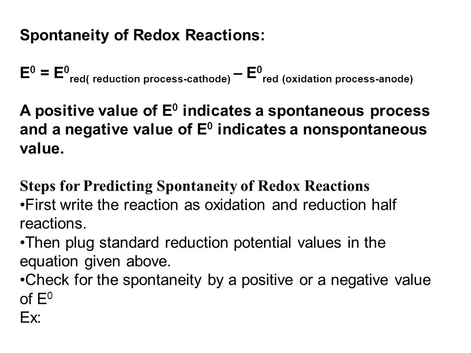 Spontaneity of Redox Reactions: