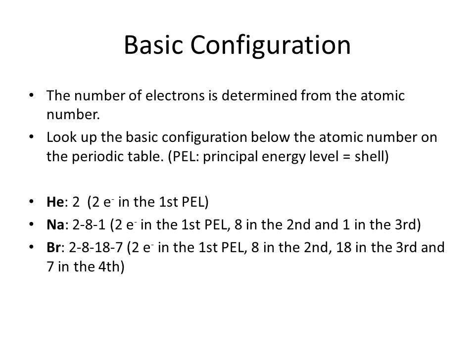 Basic ConfigurationThe number of electrons is determined from the atomic number.