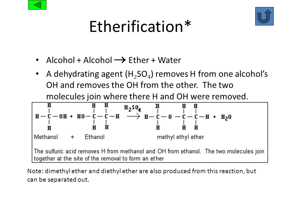 Etherification* Alcohol + Alcohol  Ether + Water