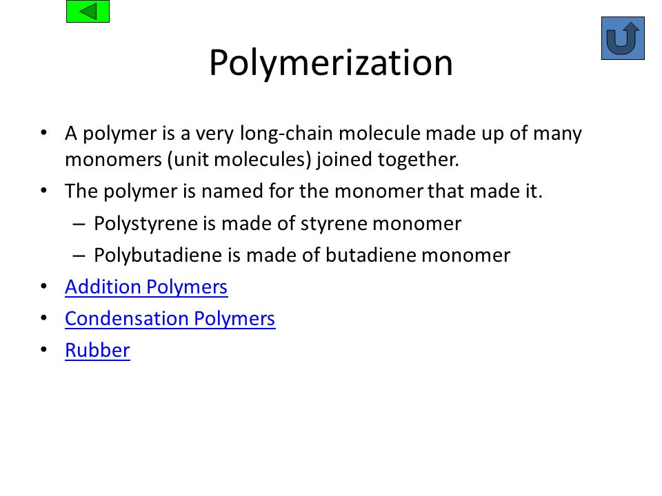 PolymerizationA polymer is a very long-chain molecule made up of many monomers (unit molecules) joined together.