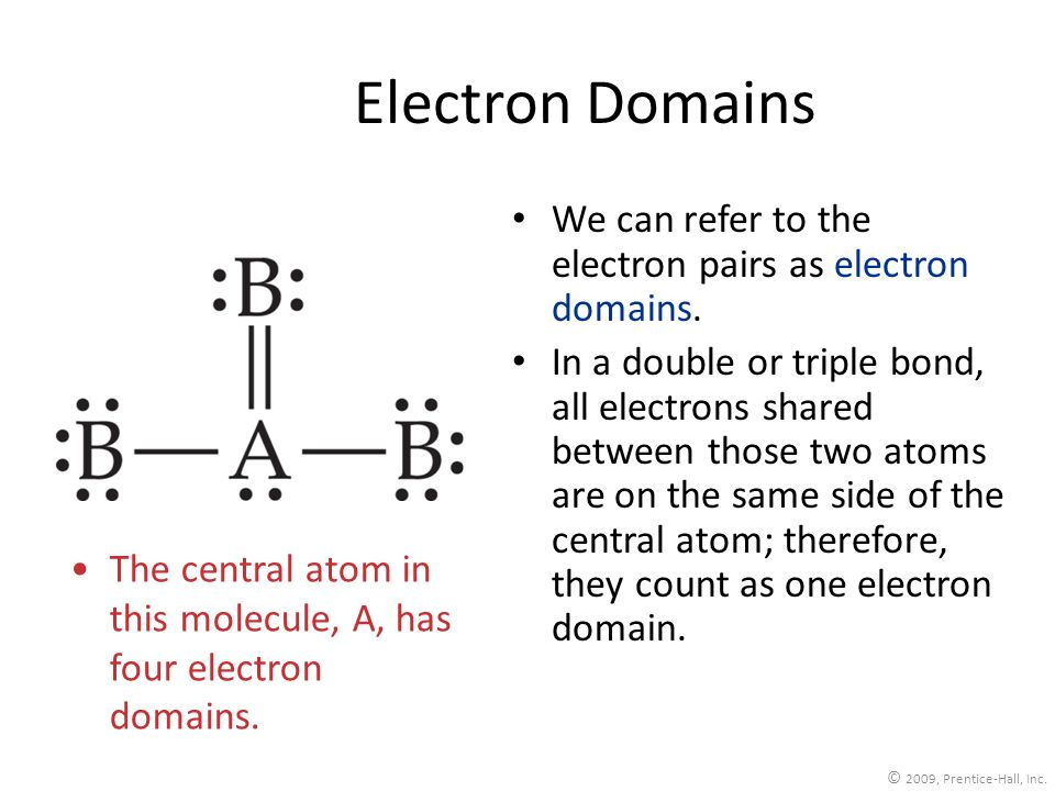 Electron Domains We can refer to the electron pairs as electron domains.