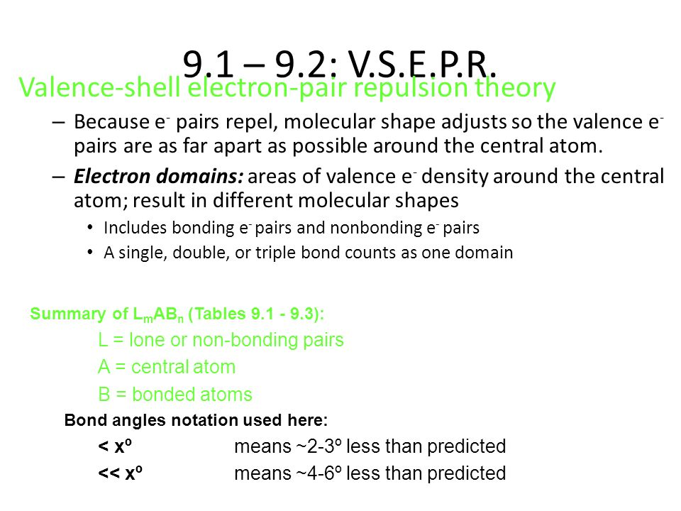 9.1 – 9.2: V.S.E.P.R. Valence-shell electron-pair repulsion theory