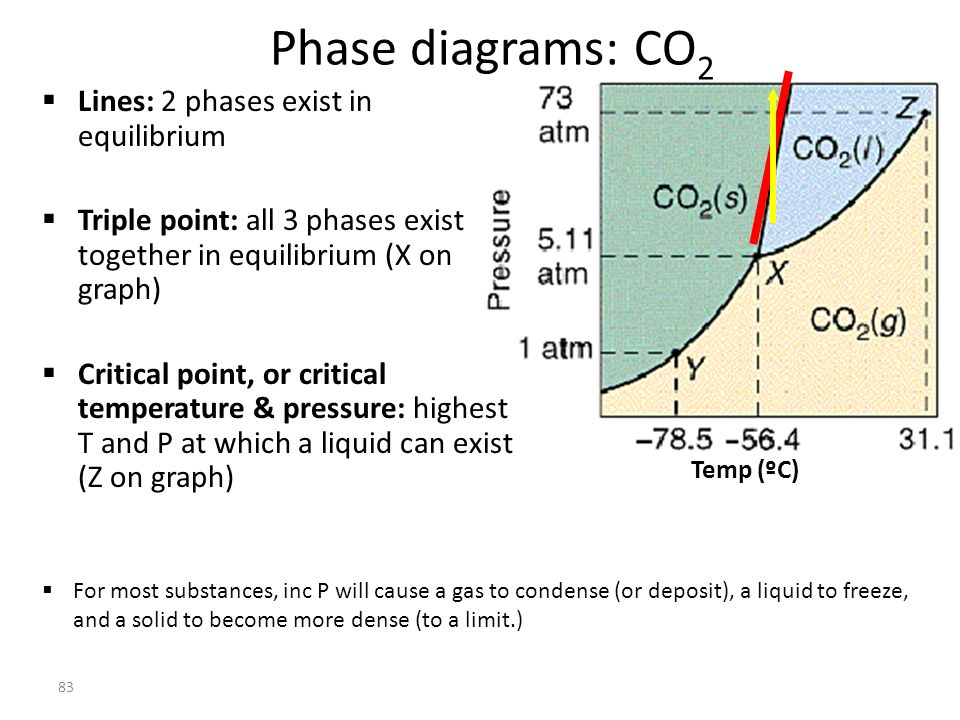 Phase diagrams: CO2 Lines: 2 phases exist in equilibrium
