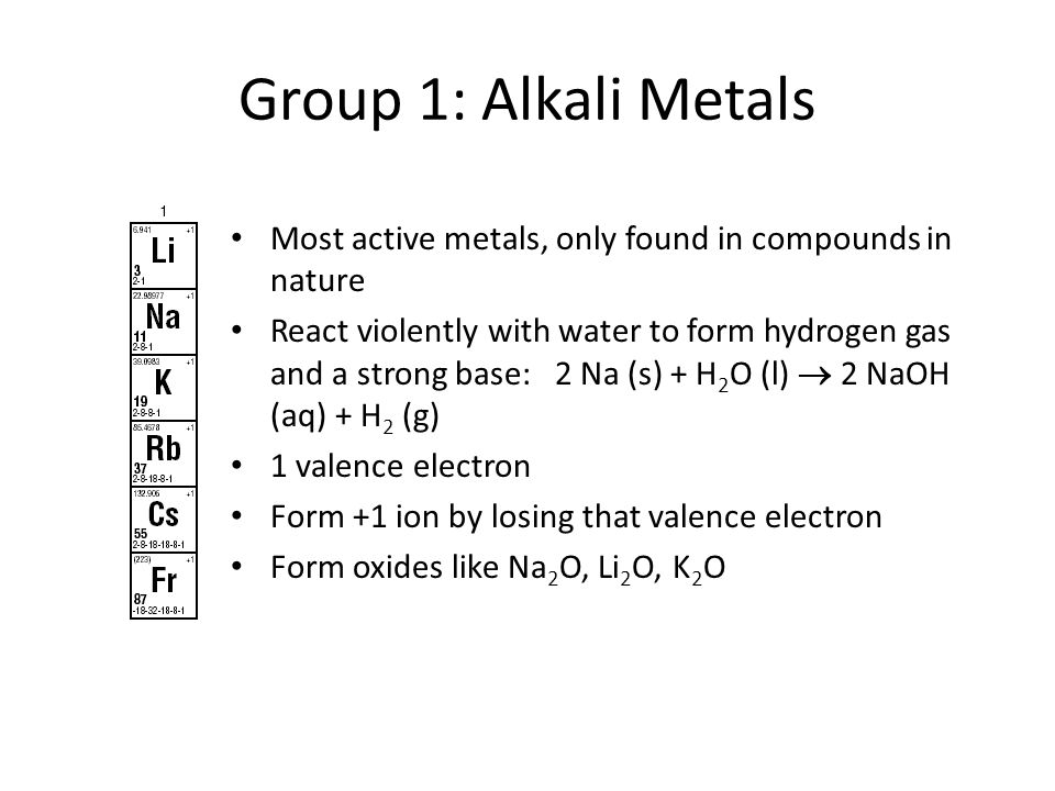 Group 1: Alkali MetalsMost active metals, only found in compounds in nature.
