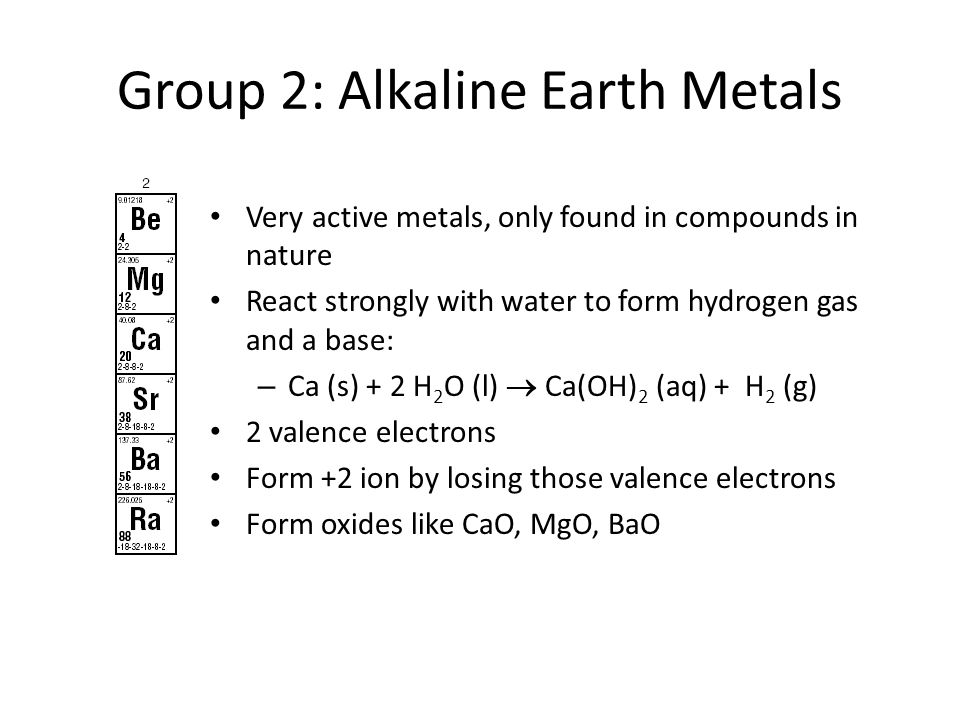 Group 2: Alkaline Earth Metals