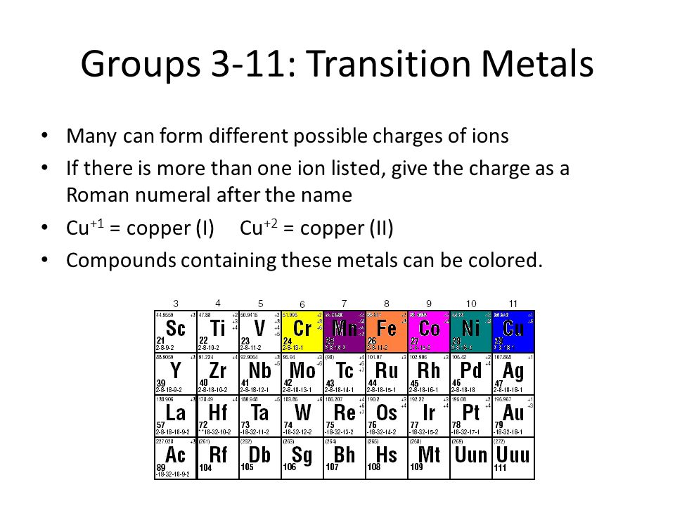 Groups 3-11: Transition Metals