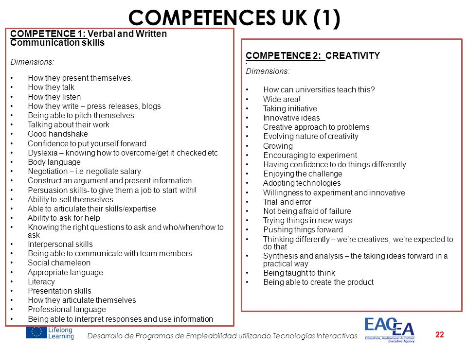 COMPETENCES UK (1) COMPETENCE 1: Verbal and Written Communication skills. Dimensions: How they present themselves.