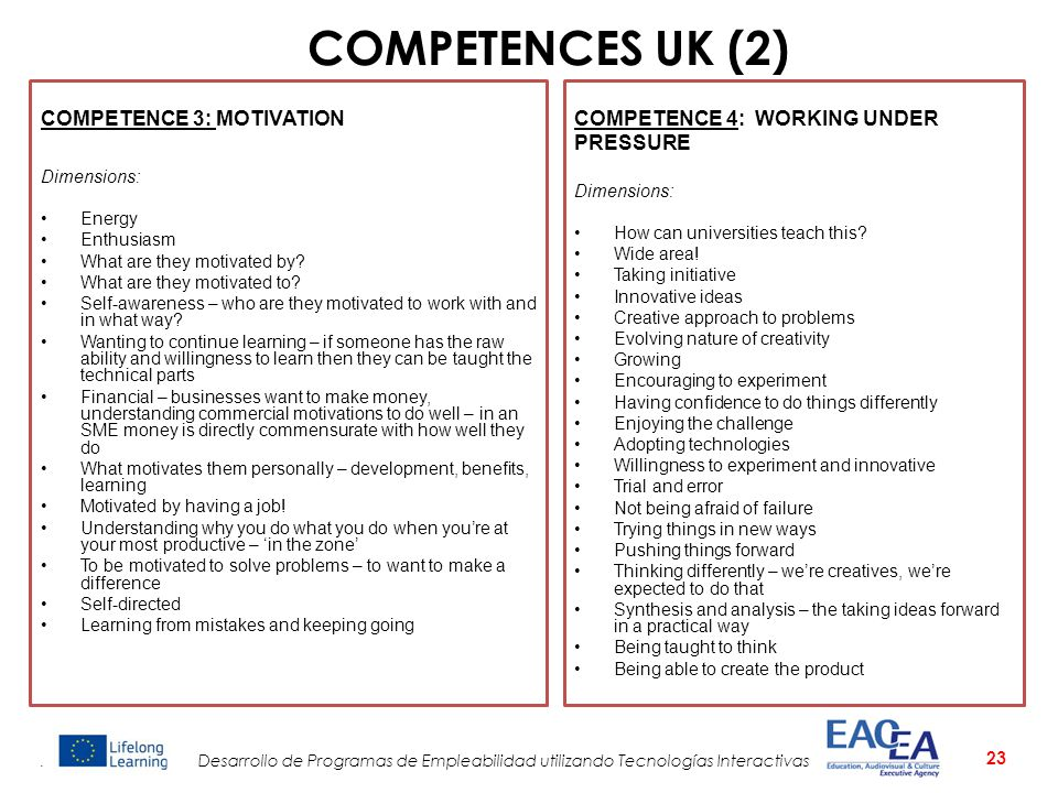 COMPETENCES UK (2) COMPETENCE 3: MOTIVATION