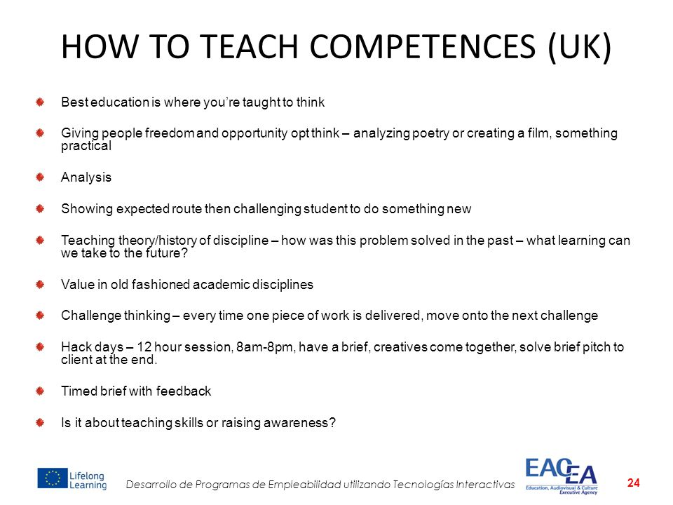 HOW TO TEACH COMPETENCES (UK)