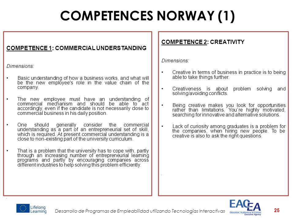 COMPETENCES NORWAY (1) COMPETENCE 2: CREATIVITY