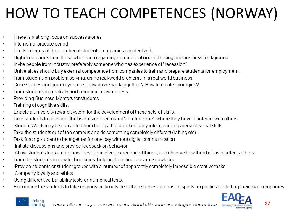 HOW TO TEACH COMPETENCES (NORWAY)