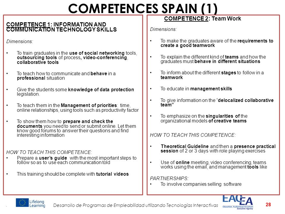COMPETENCES SPAIN (1) COMPETENCE 2: Team Work