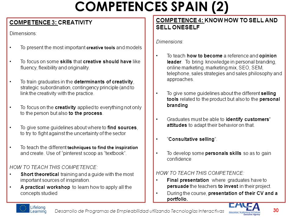 COMPETENCES SPAIN (2) COMPETENCE 4: KNOW HOW TO SELL AND SELL ONESELF