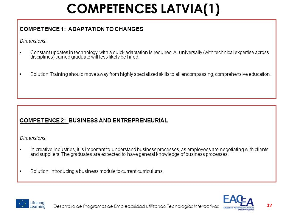 COMPETENCES LATVIA(1) COMPETENCE 1: ADAPTATION TO CHANGES