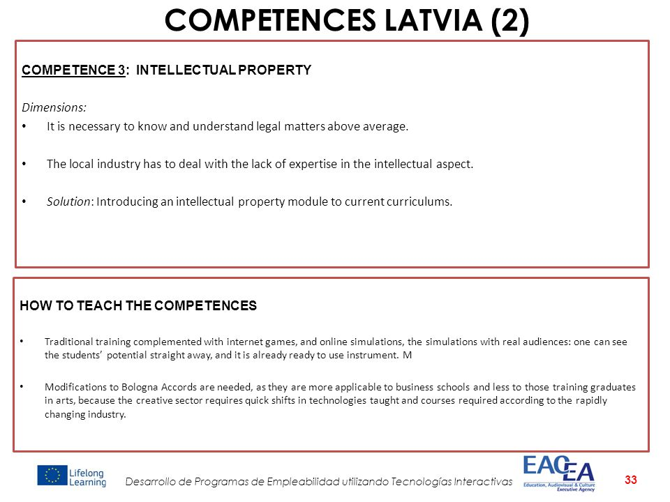 COMPETENCES LATVIA (2) COMPETENCE 3: INTELLECTUAL PROPERTY Dimensions: