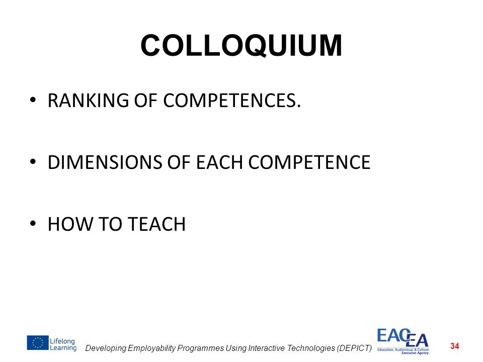 COLLOQUIUM RANKING OF COMPETENCES. DIMENSIONS OF EACH COMPETENCE