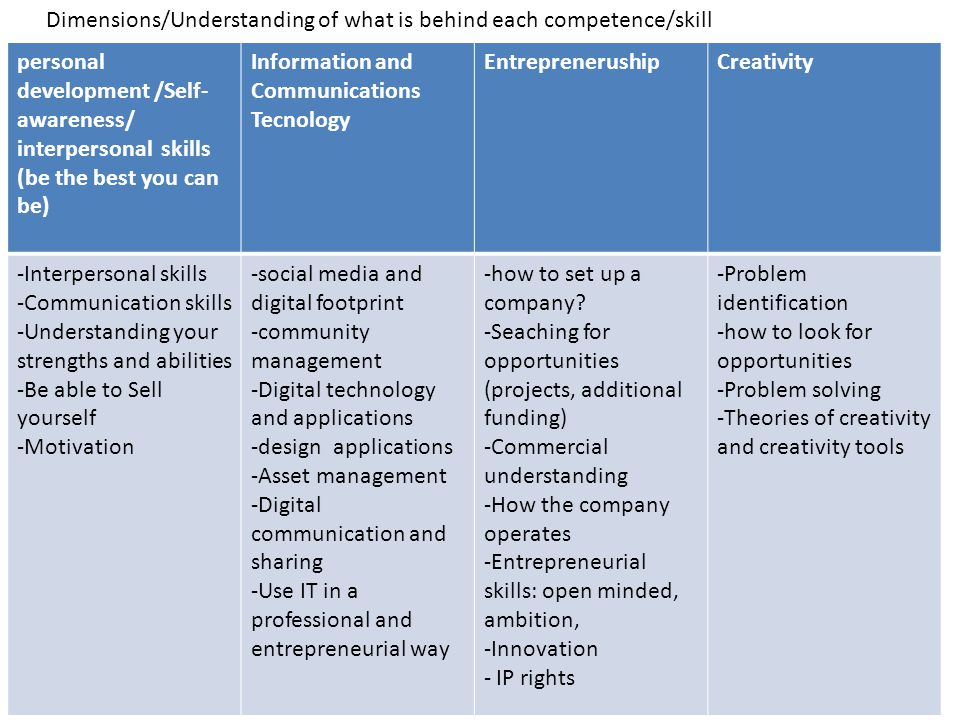 Dimensions/Understanding of what is behind each competence/skill