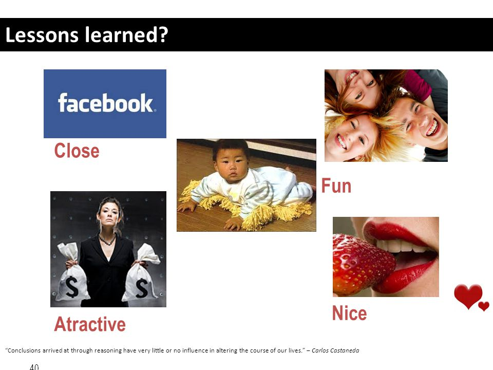 Lessons learned Close Fun Nice Atractive