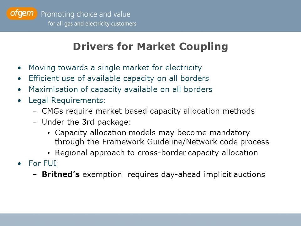 Drivers for Market Coupling